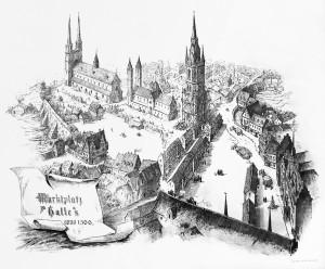 Halle um 1500, mit der Gertrudenkirche und der Marienkirche, Friedrich Wilhelm Zachow