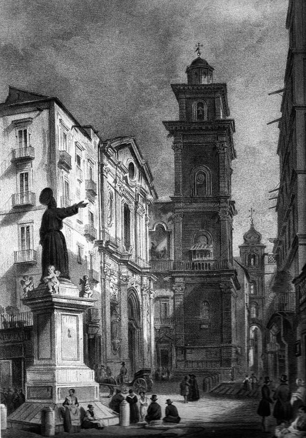 Piazza San Gaetano mit der Kirche San Lorenzo Maggiore, Zeichnung von Vianelli, um 1845
